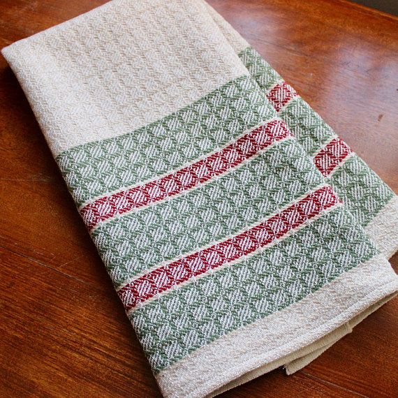 Hand Woven Towel Kitchen Dish Chef Handwoven Cotton Linen Natural Red Green Large Block Twill