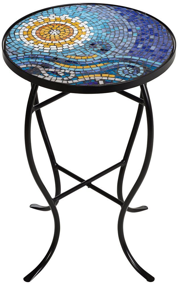 Ocean Mosaic Black Iron Outdoor Accent Table 21 High X 14 Wide X