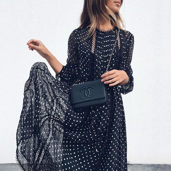 Printed dress and the little black bag