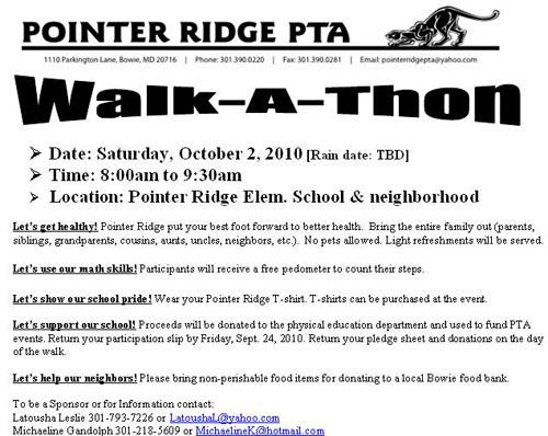 walk thon pledge sheet