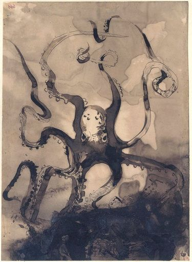 Victor Hugo  Octopus with the initials V.H 1866  Pen and ink wash on paper