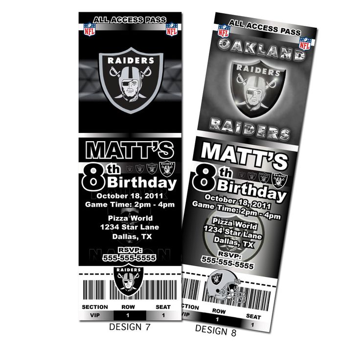 35 best Raiders images on Pinterest Birthday party ideas - party ticket invitations