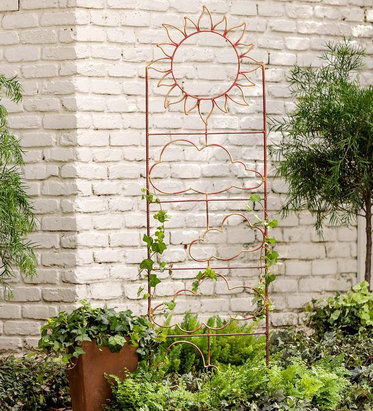Handmade Metal Garden Trellis with Celestial Design | Arbors
