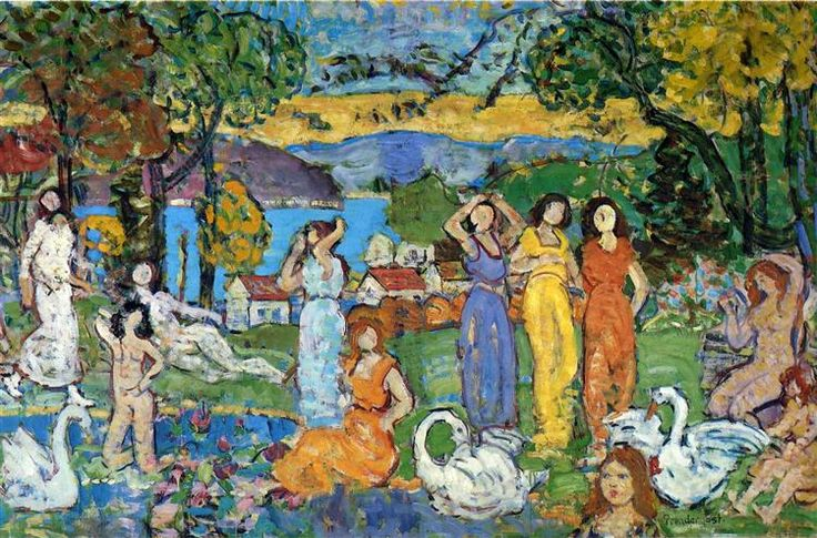 The Picnic, 1915 by Maurice Prendergast. Post-Impressionism. nude painting (nu). National Gallery of Canada, Ottawa, Canada