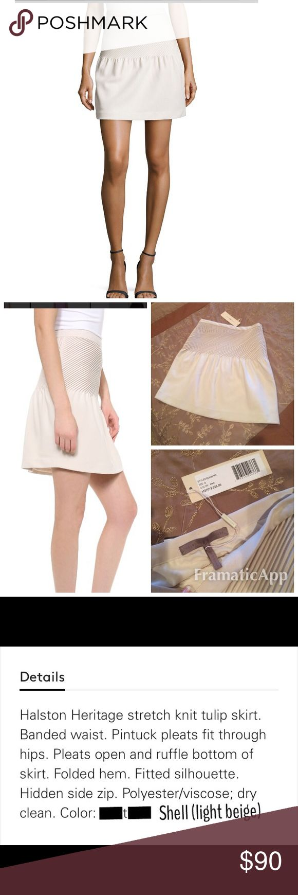 HALSTON Tulip Skirt The QUALITY of this skirt is GORGEOUS!!! ITS A bone/shell/light beige color. Retail is $325- its New With Tags. Please read photo for full description. Side hidden zip. Halston Heritage Skirts Mini