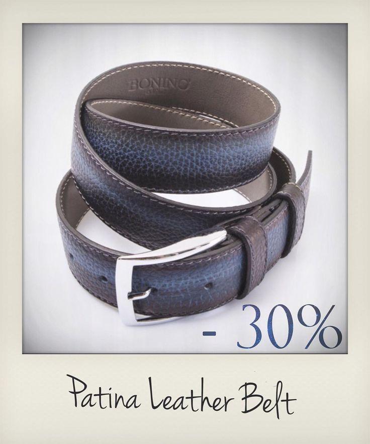 Blue with patina leather belt.  Bonino X Emilie Patine  http://www.zampadigallina.com/blue-leather-belt.htm