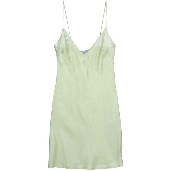 Blumarine Underwear Slip ($100) ❤ liked on Polyvore featuring intimates, sleepwear, nightgowns, dresses, underwear, pajamas, tops, acid green, blumarine and green slip