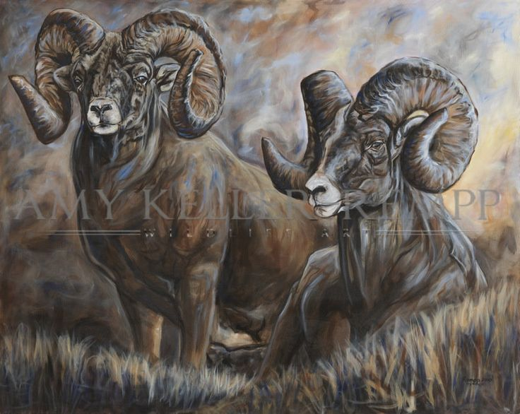 "Amy Keller-Rempp Art. ""Alberta Dawn"", 48"" by 60"", acrylic on canvas. Original sold during a live auction in Edmonton for the Safari Club International banquet in 2010 for $12,000. Available and extremely popular in giclee prints and fine art cards."