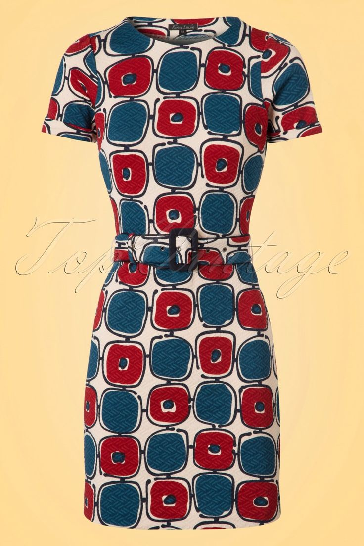 1960s Dresses – A Rainbow of 50 Dresses (Pictures) 60s Maes Solide Dress in Cream Blue and Wine £84.46 AT vintagedancer.com