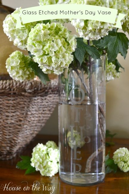 etched glass mother's day vase