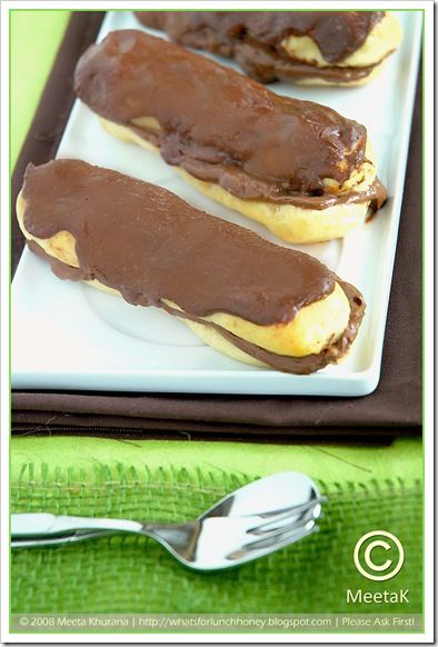 Choc Eclairs (02) by MeetaK: Eclairs 02, Eclairs Profiterole 101, Yummy Recipes, Hermé Chocolates, Chocolates Éclair, Food Desserts Chocolates, Chocolate Eclairs, Chocolates Eclairs, Choc Eclairs