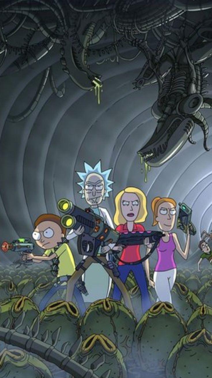 Greavity Falls Wallpaper Rick And Morty X Aliens Rick And Morty Rick Morty