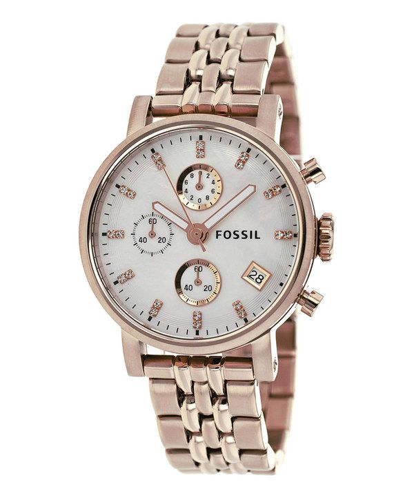 Look what I found on #zulily! Fossil Rose Gold & Mother-of-Pearl Boyfriend Chronograph Watch - Women by Fossil #zulilyfinds