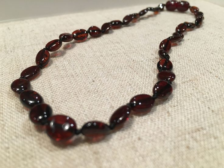 Baltic Amber Teething Bean Necklace Polished Cherry Newborn baby screw clasp 10.5 to 11 inch Infant fever cold red cheeks fussiness drool