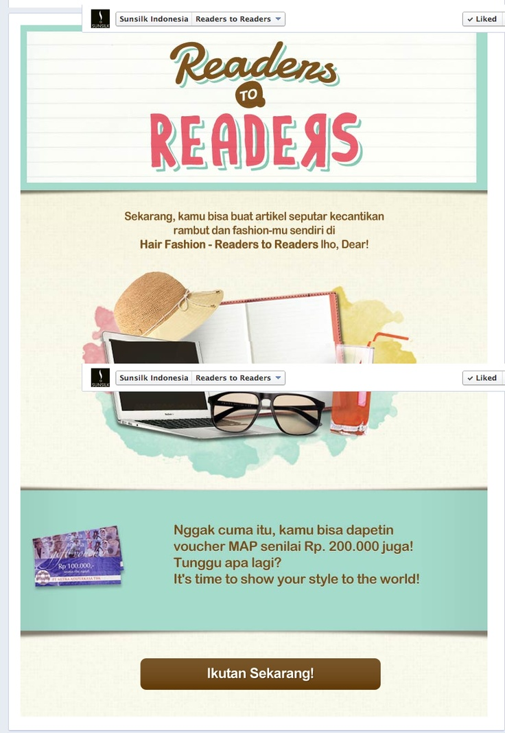 "Artikel Kecantikan Sunsilk ""Hair Fashion - Readers to Readers"" »» https://www.facebook.com/SunsilkIndonesia/app_485191848166735"