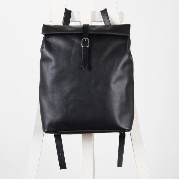 Black leather backpack rolltop rucksack / To order genuine leather minimalist backpackrucksackkokosinasimple backpackknapsackback to school leather rucksack women woman girls gift