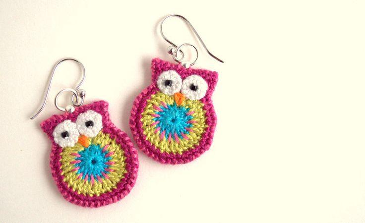 Owl earrings, pink lemongrass and turquoise, crochet owl earrings. $25.00, via Etsy.