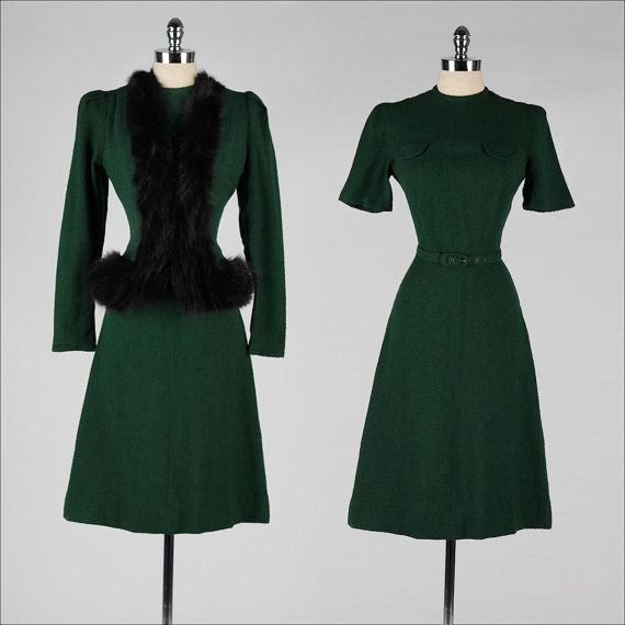 1940s fashion: suit, ensemble. dress and jacket in emerald green wool with (faux?) fur trimmings <3