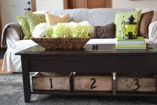 Storage boxes using pallet wood and inexpensive house numbers
