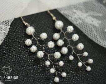 Wedding Pearl Earrings, Bridal Pearl Earrings, Wedding Earrings, Handmade Pearl Earrings, Wire Wedding Pearl Earrings