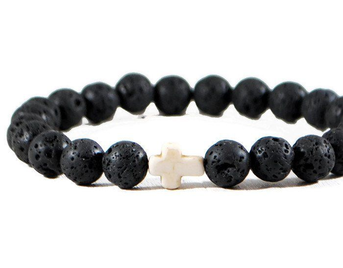 Black Lava Stretch GemStone Bracelet.