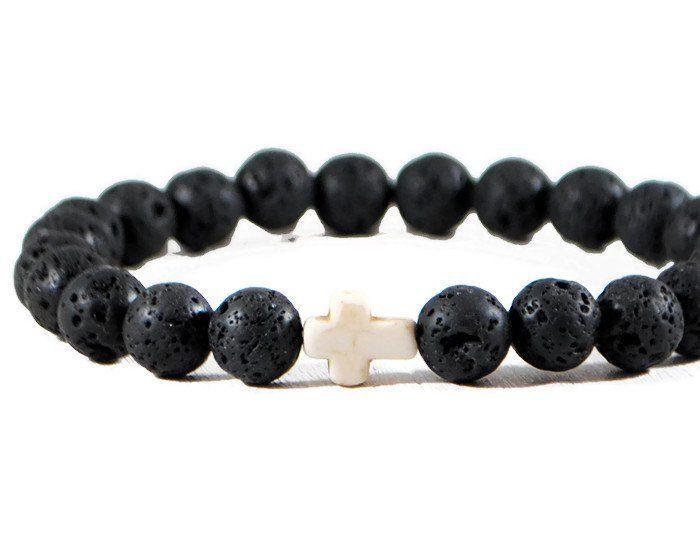 Black Lava Stretch GemStone Bracelet.