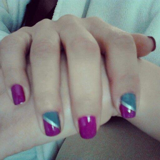 Nail art purple, grey, silver