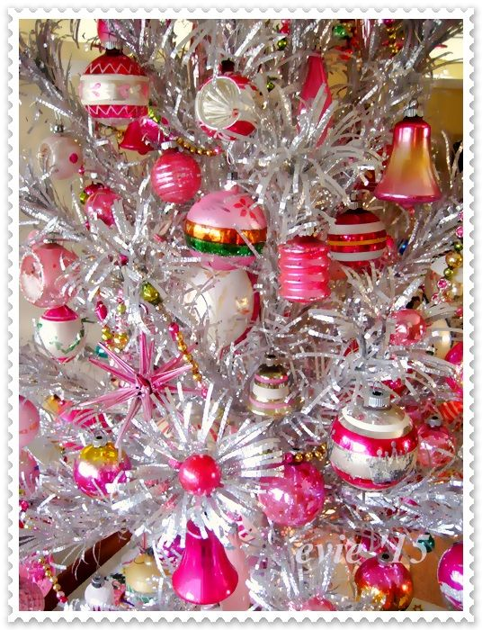 This is my little 4 foot Evergleam crimped aluminum tree dressed in pretty pink vintage ornaments I have collected over the years.         ...