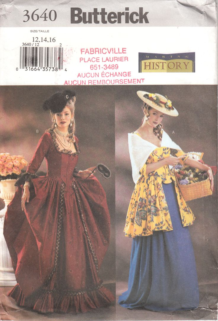 Patron de robe historique pour femme.  Robe avec corsage ajusté, doublé, entoilé, baleiné avec coutures princesses, taille tombante, manches au-dessous du coude. Modèle B: volants de manches contrastants. Jupe évasée, plissée et avec triplure. Modèle A: au genou. Modèle B: au ras du sol (plus courte avec drapé). Jupon au ras du sol, évasé, plissé, avec ceinture de ruban. Modèle B: volants du même tissu et garniture achetée.  Grandeur 12-14-16 pour femme Mesures du corps (centimètres)…
