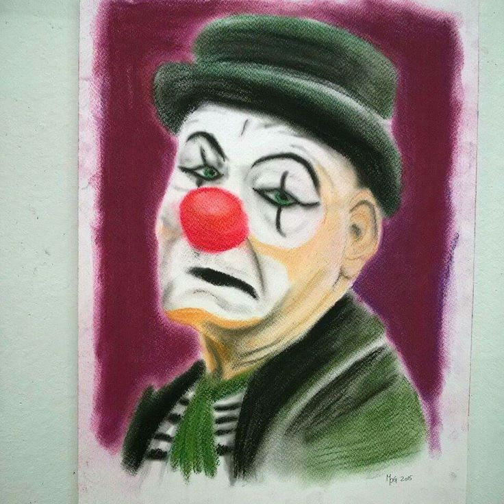 Why does the clown not smile made by Mille Puk Grube 2015. Pastel painting. Www.mpg-art.dk