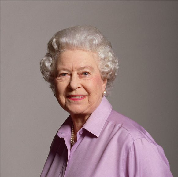 The Queen on her 80th by Lord Snowden.  She wears purple often, and looks spectacular in it. :):