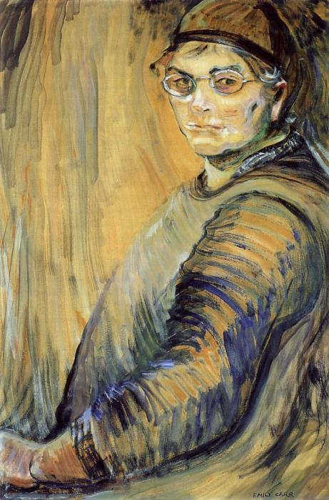 Emily Carr, self portrait. Emily Carr (1871-1945) was a Canadian artist and writer heavily inspired by the indigenous peoples of the Pacific Northwest Coast.