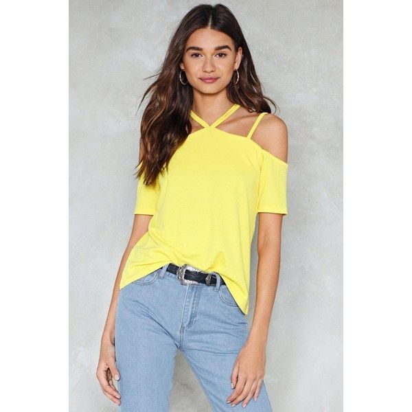 Nasty Gal Blow Hot and Cold Shoulder Top ($24) ❤ liked on Polyvore featuring tops, yellow, relaxed fit tops, cold shoulder tops, open shoulder tops, racer back top and strappy top