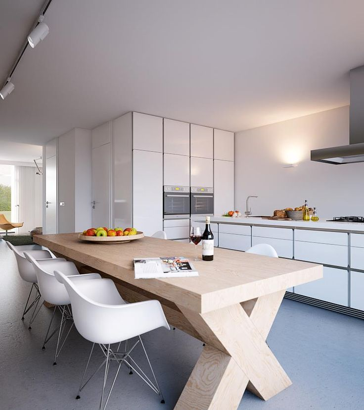 Modern White Kitchen Diner With Wood Dining Table And Chair Sets