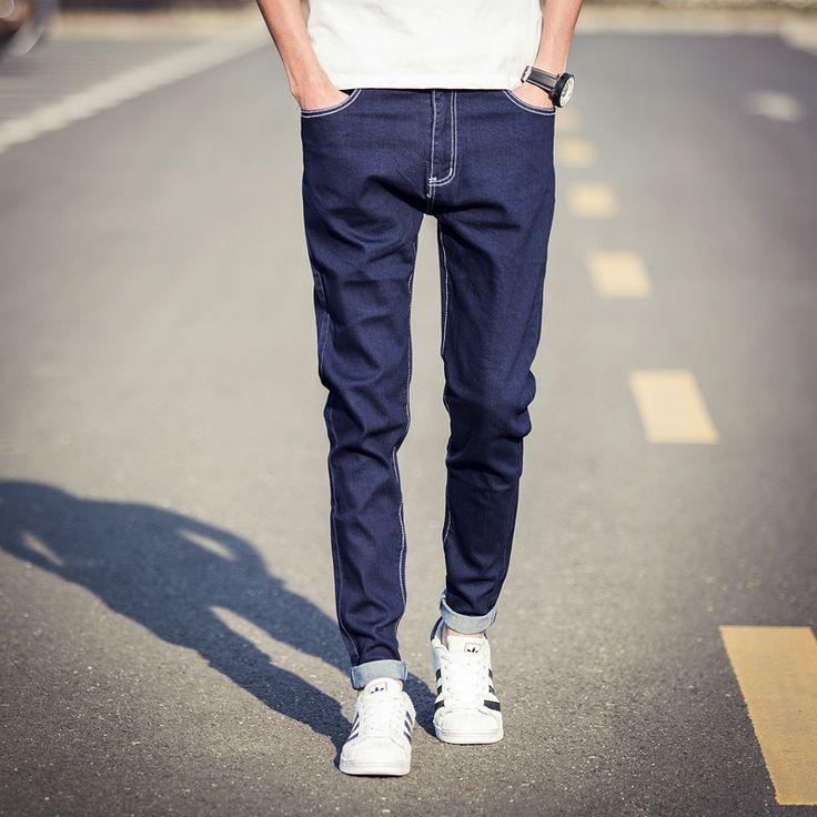 Купить Новый 2016 корейские узкие джинсы мужчин классический синий сплошной джинсовые брюки весна лето мода тонкий подходят парни мужские джинсыи другие товары категории Джинсыв магазине Hello Mr. FashionнаAliExpress. джинсы белый и жан красный