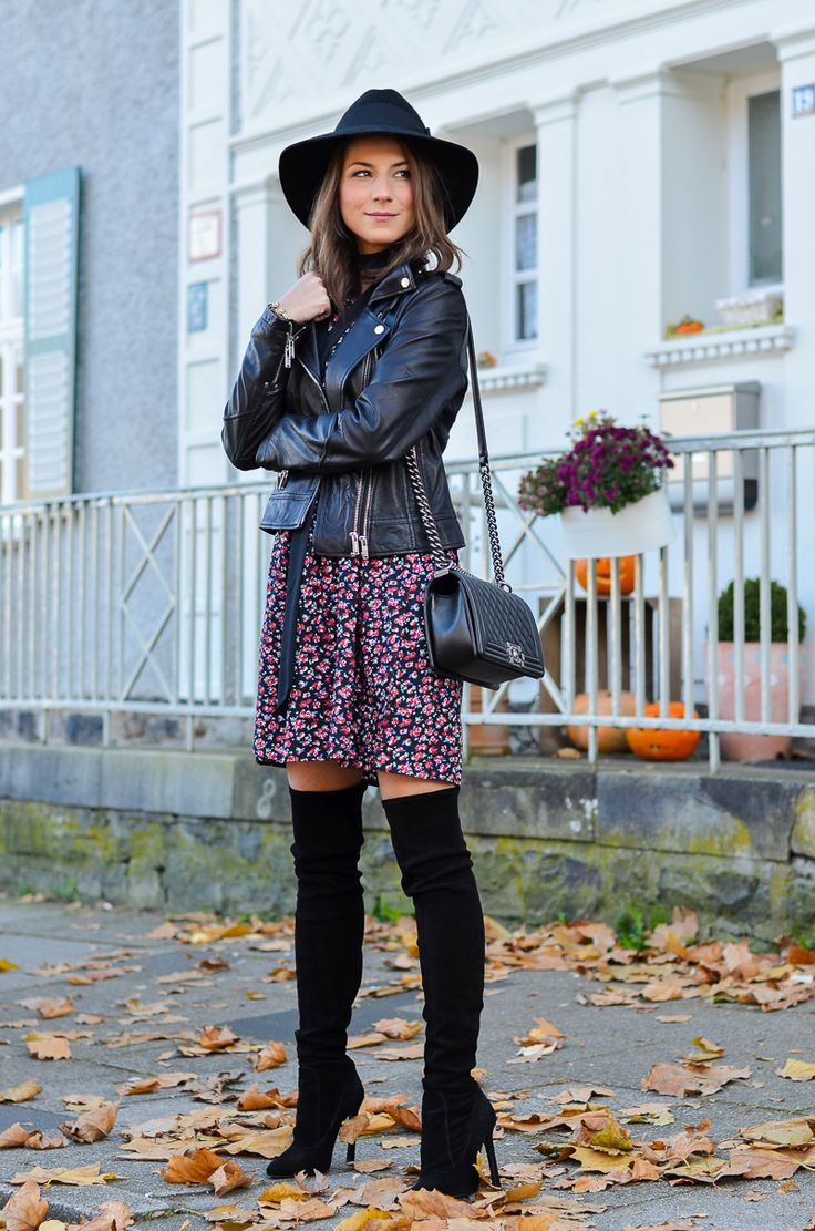 outfit black over knee boots & Chanel boy bag