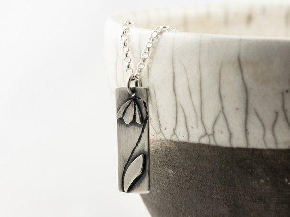 Silver Snowdrop Necklace Flower Pendant Winter Or Spring Jewellery January Birthday Gift Idea Kolyeler