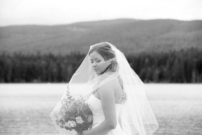 Bridal Portrait - Whonnock Lake Hall. Bride, overcast, veil, landscape, lake, Whonnock.