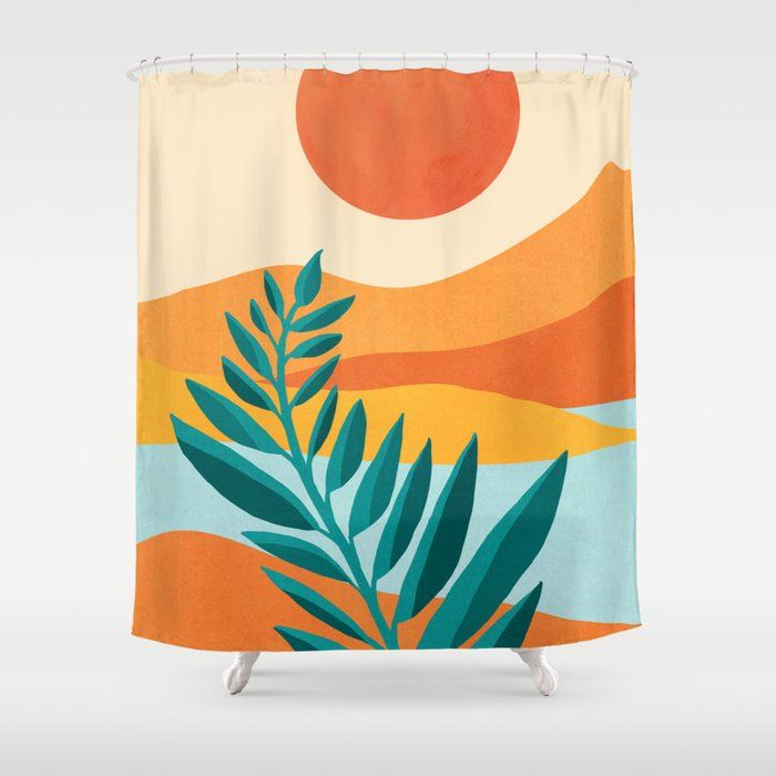 Thicken Sea Sunset Polyester Waterproof Bath Shower Curtain Beach Shower Curtains Shower Curtain Long Shower Curtains