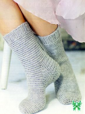Связать носки крючком столбиками без накида