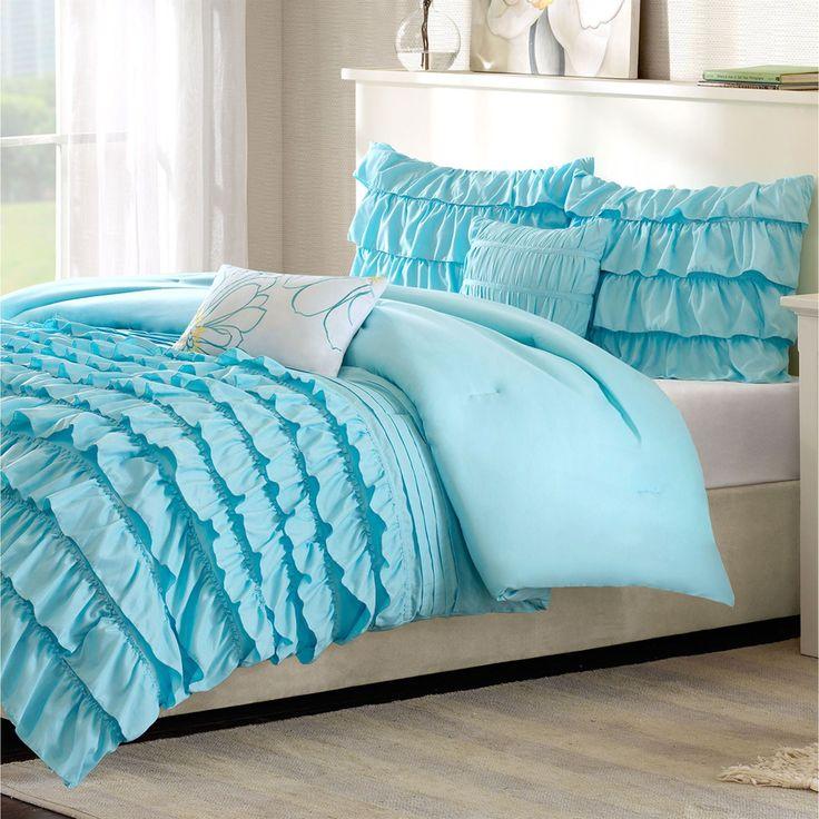 Kacie Light Blue Ruffled Comforter Bed Set
