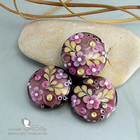 handmade lampwork beads v i o l e t s i l k i e s sra lentils glass setu2026