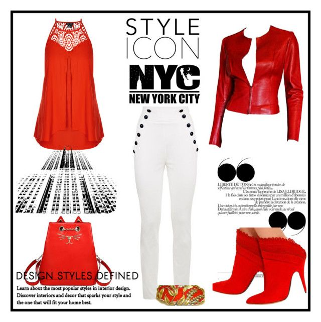 """""""chaqueta de cuero"""" by osiris-rojas ❤ liked on Polyvore featuring City Chic, Gucci, Tommy Hilfiger, Charlotte Olympia and Tabitha Simmons"""