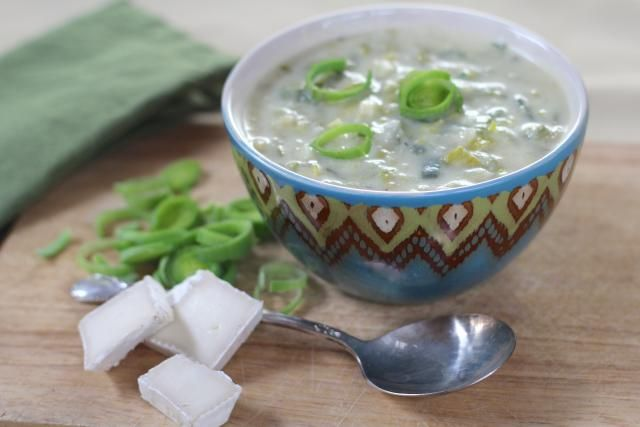 The mellow flavors of creamy brie cheese, sweet onion and fresh leeks combine to add great flavor to this rich and lovely winter German soup.
