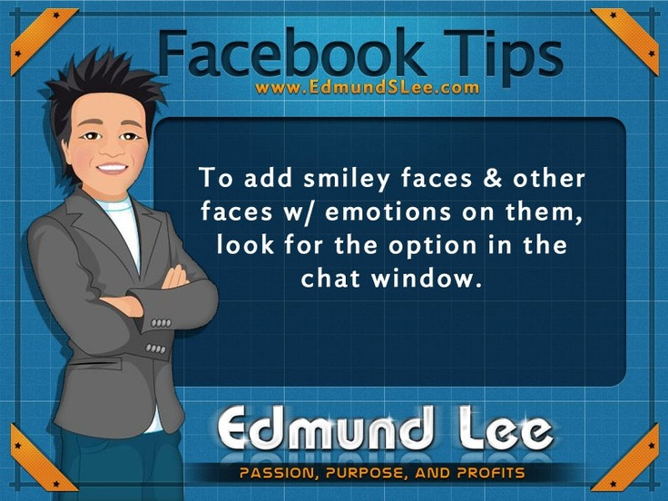 #Facebook #Tip : Did you know that when chatting with another person on facebook, you can choose from a variety of smiley face and designs with expressions on them? #socialmedia #Facebooktip