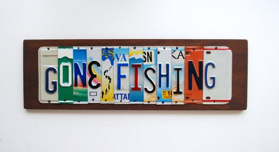 Gone Fishing - OOAK license plate art, Fishing Decor, Father's Day Gift, Valentines Day Gift, Christmas Gift, Engagement, Birthday Gift on Etsy, $80.00
