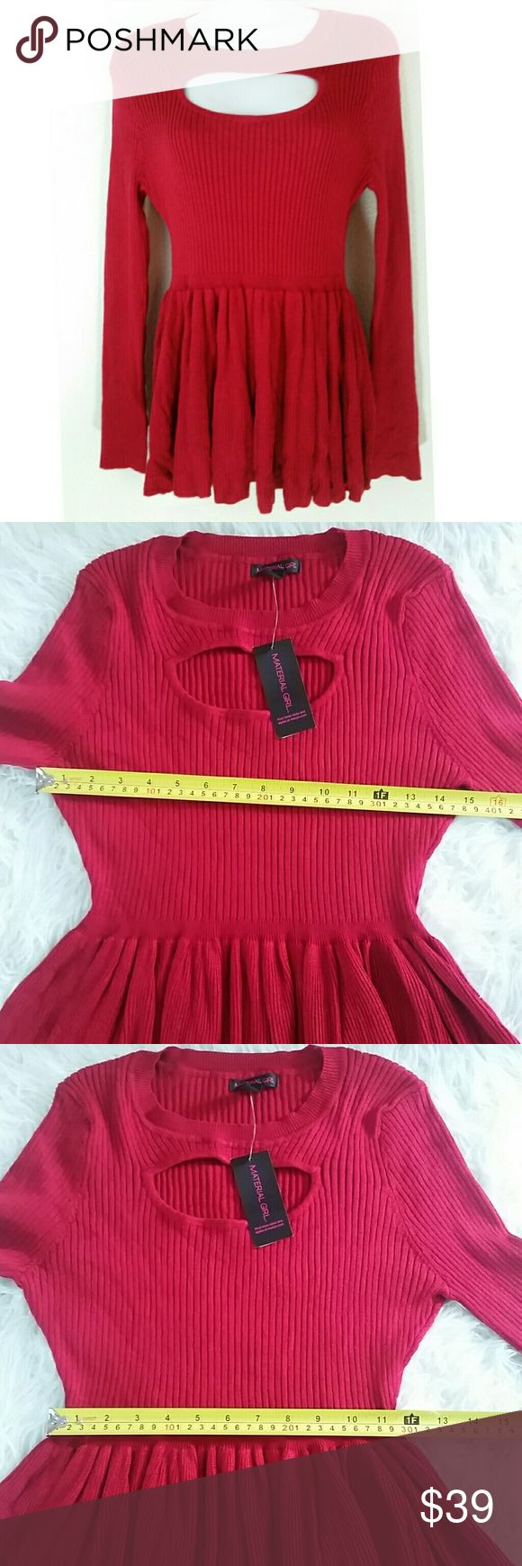 Material Girl Red Chili Pepper Peplum Keyhole Top Material Girl Red Chili Pepper Long Sleeve Peplum Keyhole Peek-a-boo Ribbed Blouse. Material Girl Tops Blouses