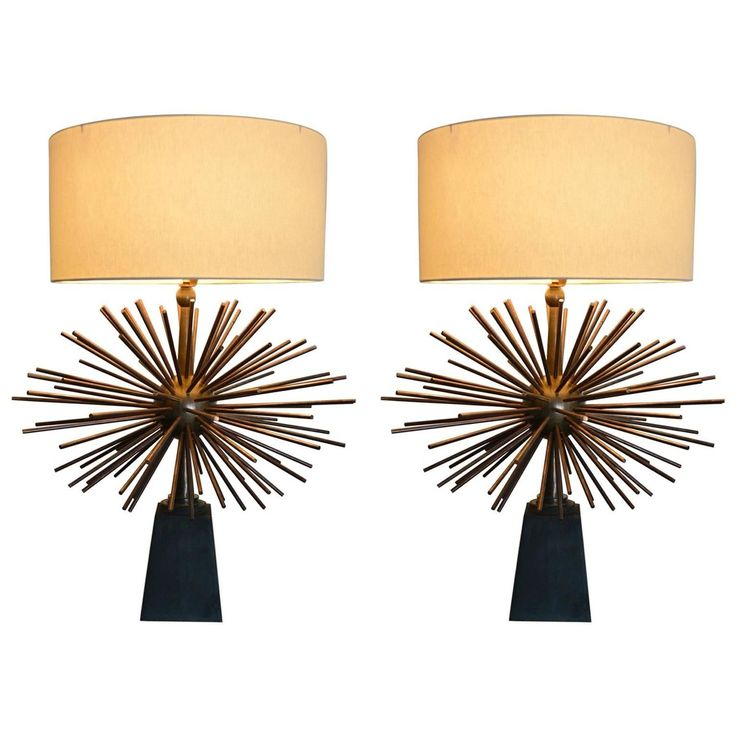 Mexican Modernist Bronze Starburst Table Lamps Attributed To Arturo Pani
