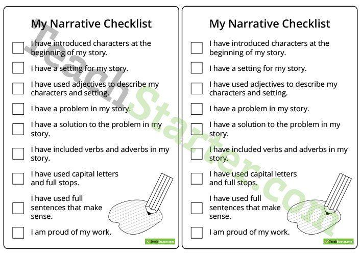 Narrative Writing Checklist – Lower Years Teaching Resource