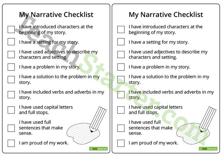 Narrative Writing Checklist – Lower Years Teaching Resource